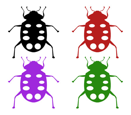 lady cow: ladybugs illustration on white background