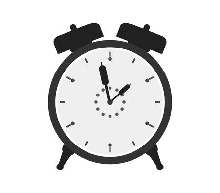 despertador: icono del reloj de alarma en el fondo blanco Foto de archivo