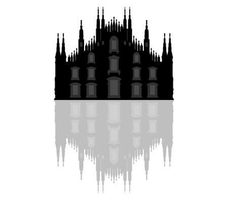 silhouette Milan Cathedral Stock Photo
