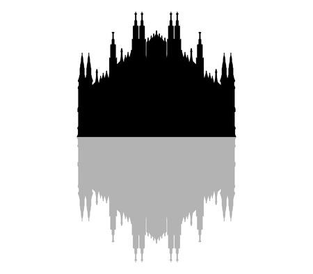 silhouette Milan Cathedral 免版税图像 - 57249193