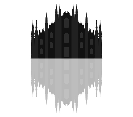 milan: silhouette Milan Cathedral Stock Photo