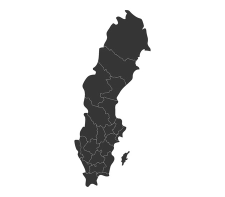 regions: map of sweden with regions Stock Photo