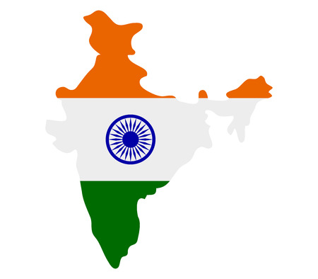 blue icon: Map of India with flag
