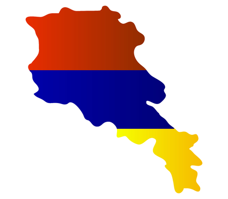 map of armenia: map with flag of Armenia
