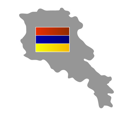 armenia: map with flag of Armenia