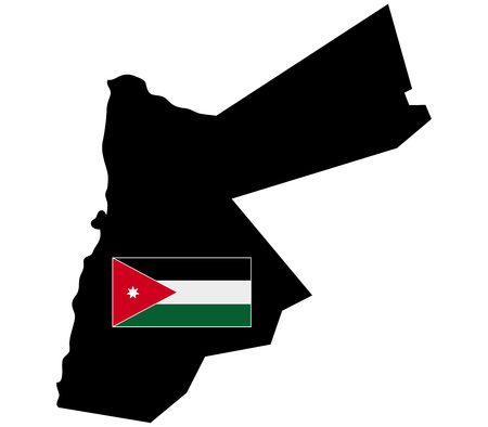 jordan: map of Jordan with flag