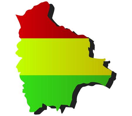 mapa de bolivia: Mapa de Bolivia con la bandera Foto de archivo