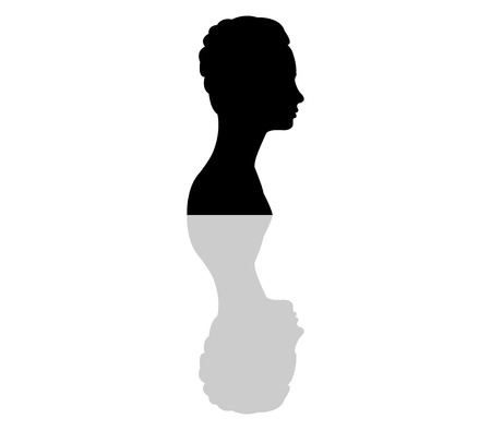 womans: silhouette of the womans face in profile Stock Photo