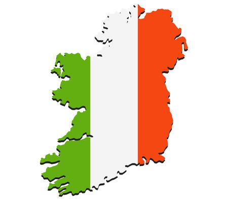irish map: map of ireland with flag