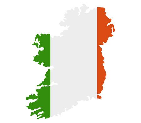 ireland flag: map of ireland with flag