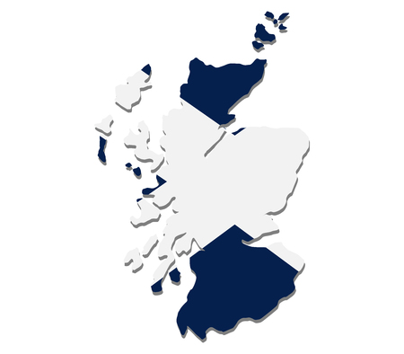 scotland: Map of scotland with flag
