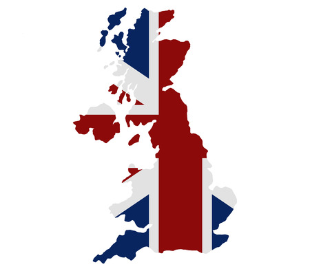 britain: britain map with flag