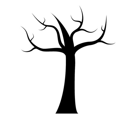 dry: Dry autumn tree in flat design