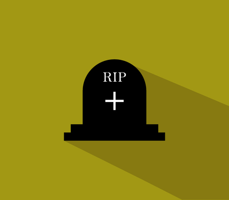 headstone: headstone icon for halloween illustrated in flat design Stock Photo