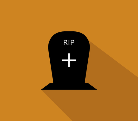 rest in peace: headstone icon for halloween illustrated in flat design Stock Photo