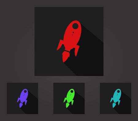 back to the future: rocket illustrated set of icons in flat design Stock Photo