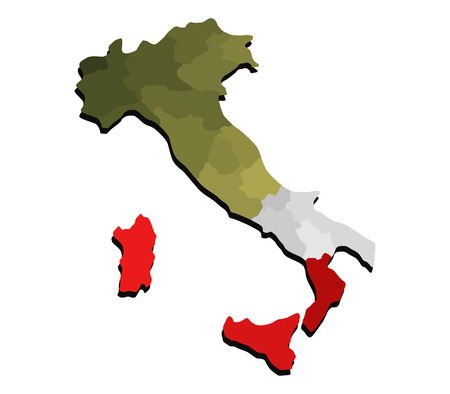 map of Italy with regions and flag Stock Photo