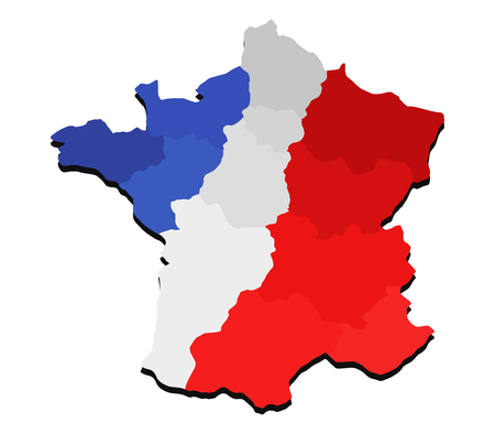 map of France with regions and flag