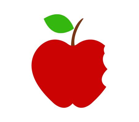bitten: icon bitten apple Stock Photo