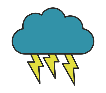natures: cloud icon with lightning Illustration