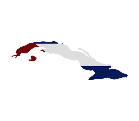 Cuba map with flag