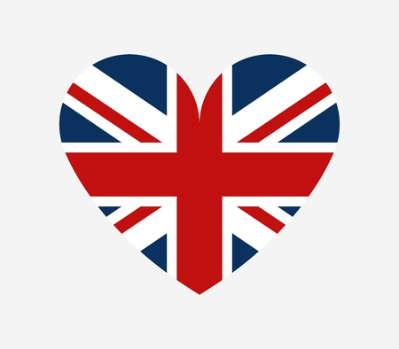 Flag of Great Britain in the shape of a heart