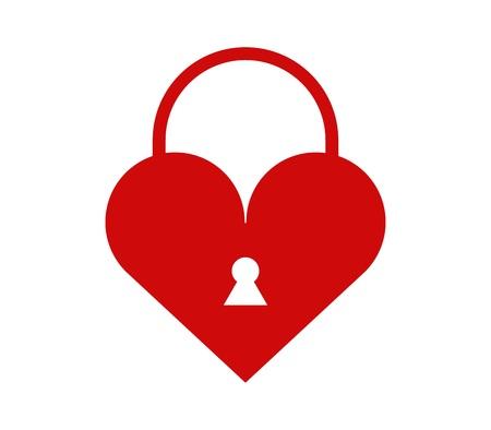 Heart icon with padlock Illustration