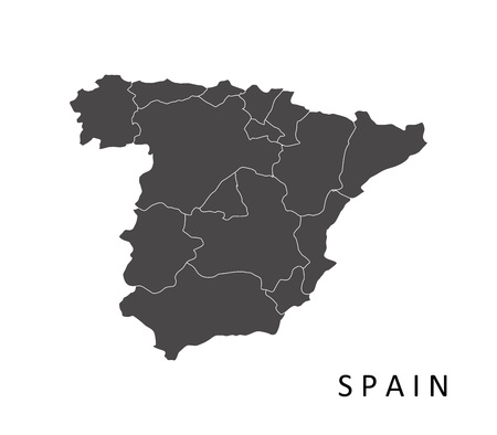Spain map with regions Illustration