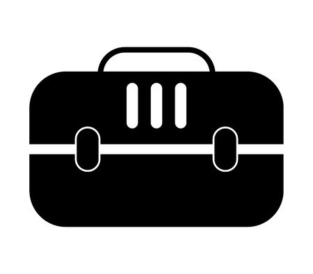 Pet travel crate cage icon, design illustration on white backdrop.