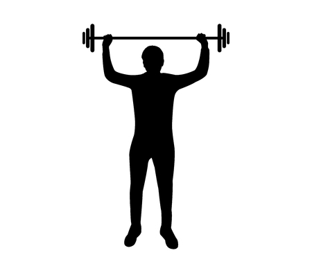 Man silhouette with gym weight on white background, vector illustration. Illustration