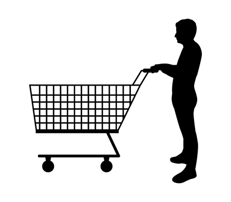 Silhouette man with shopping cart on white background, vector illustration.