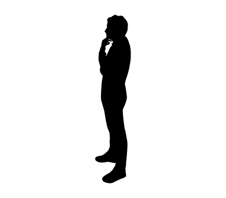 silhouette man thinking Vectores