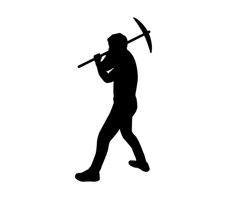Silhouette man with pick ax on white background, vector illustration.