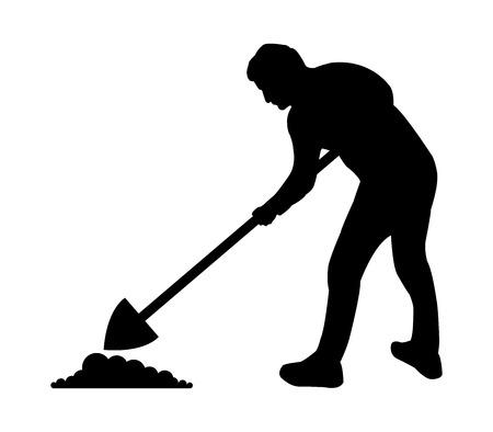 Silhouettieren Sie den Mann, der auf weißen Hintergrund, Vektorillustration gräbt. Vektorgrafik