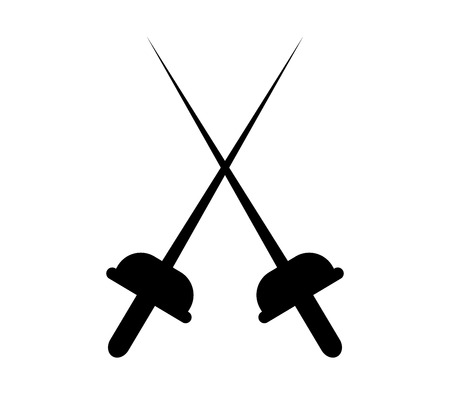 Silhouette fencing icon on white background, vector illustration. Ilustração