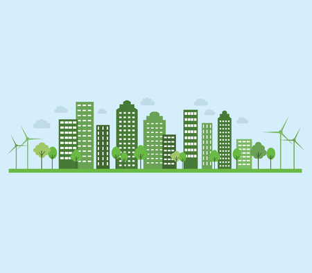 Ecology vector with tall buildings