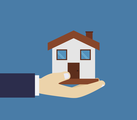 Hand holding a house, vector illustration on blue background.