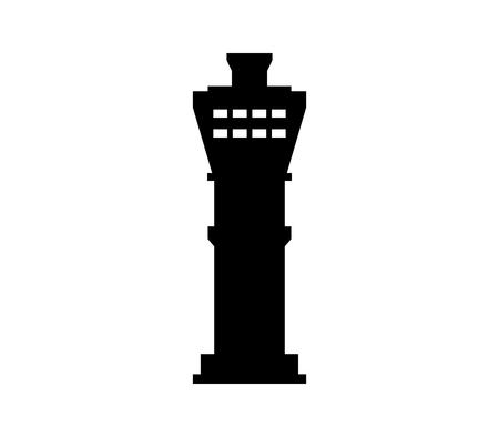 Un icono de la torre del aeropuerto aislado sobre fondo liso.