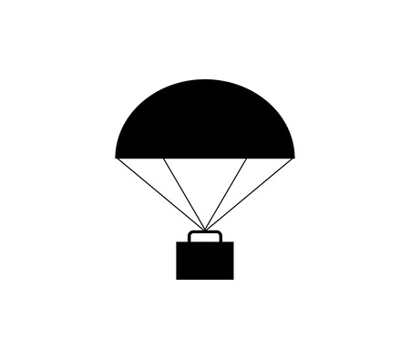 Parachute icon with cargo.