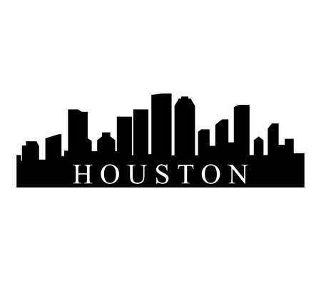 A Houston skyline isolated on plain background.