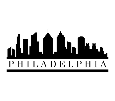 A Philadelphia skyline isolated on plain background.