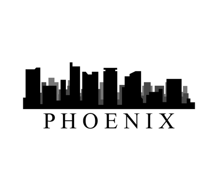 A phoenix skyline isolated on plain background. Ilustração