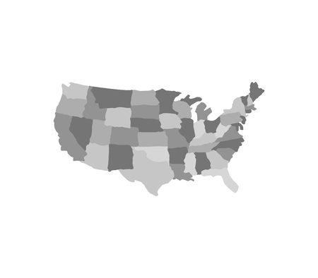 Map of united states with regions illustration Ilustrace