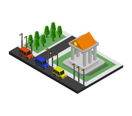 isometric bank Ilustración de vector