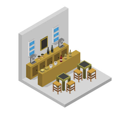 isometric restaurant room Vektoros illusztráció