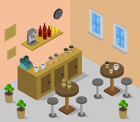 isometric restaurant room Illustration