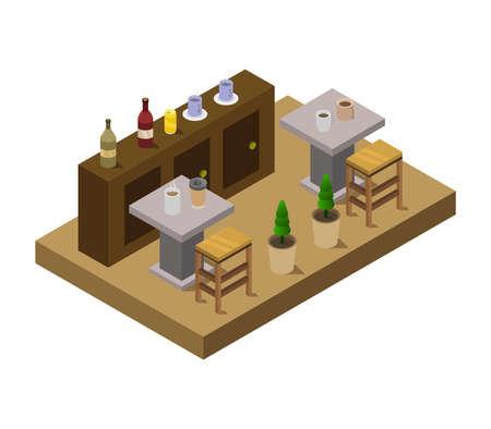 isometric restaurant room