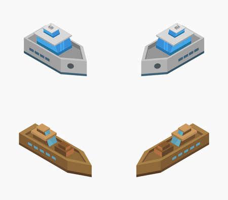 isometric boat Vettoriali