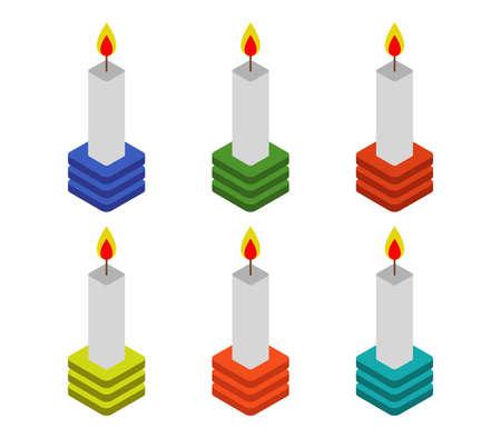 isometric candle Vettoriali