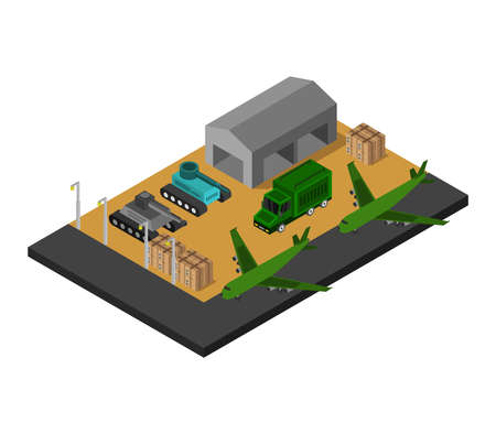 Isometric military barracks Vettoriali